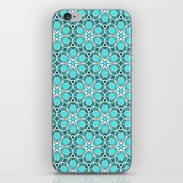 Symmetrical Flower Pattern in Turquoise iPhone Skin
