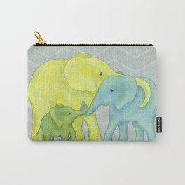 Elephant Family of Three in Yellow, Blue and Green Carry-All Pouch