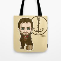 captain hook Tote Bags featuring Captain Hook by Samtronika