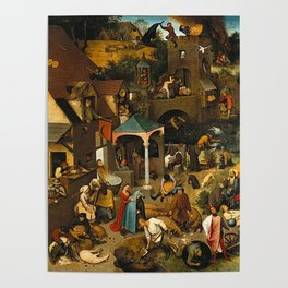 Pieter Bruegel the Elder Netherlandish Proverbs Painting Poster