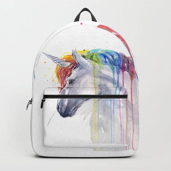 Rainbow Unicorn Watercolor Animal Magical Whimsical Animals Backpack