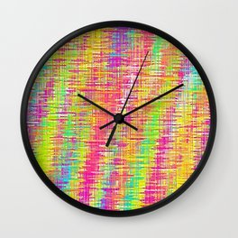 pink yellow blue green painting texture Wall Clock