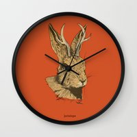 jackalope Wall Clocks featuring The Jackalope by Black Bear / White Bear