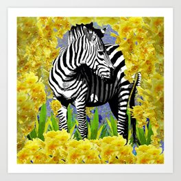 ZEBRA YELLOW ORCHIDS TROPICAL BLOOM Art Print