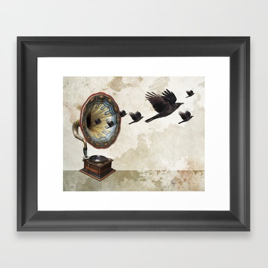 the sound of crows Framed Art Print