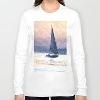 water colour Long Sleeve T-shirts featuring Felucca Water Colour by Brian Raggatt