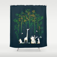 forest Shower Curtains featuring Re-paint the Forest by Picomodi