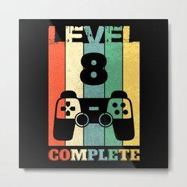 Level 8 Years Boy Man 8th Birthday Metal Print
