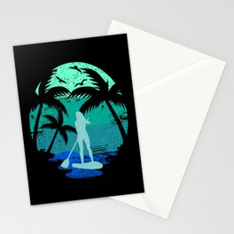 SUP Standup Paddle Board Retro Vintage Design Gift Stationery Cards