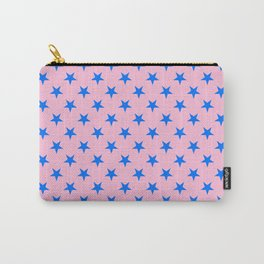 Brandeis Blue on Cotton Candy Pink Stars Carry-All Pouch