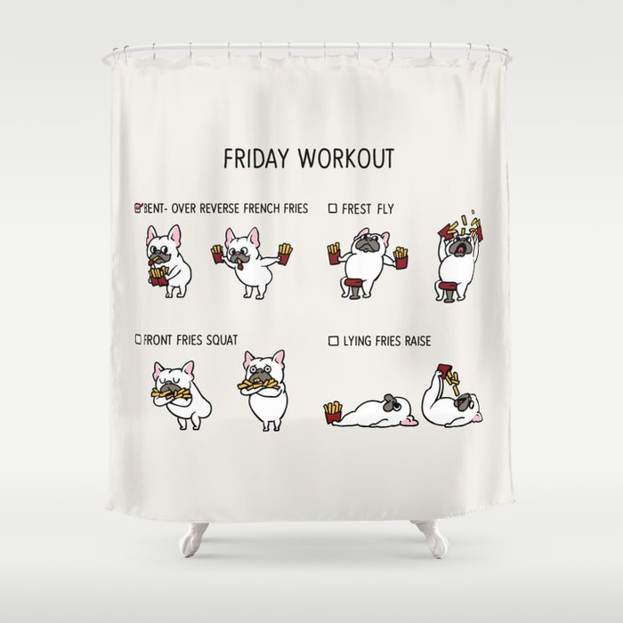 Friday Workout With French Bulldog Shower Curtain By Huebucket
