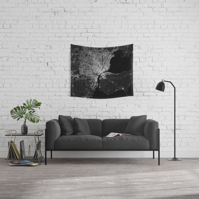 Detroit map  Wall Tapestry