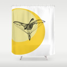 Man on a flying machine Shower Curtain