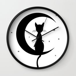 Cat on a Moon Silhouette (Lights) Wall Clock