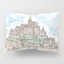 Le Mont Saint Michel ,Normandy, France. Hand drawn sketch Pillow Sham