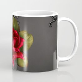 Gothic Glamour Red Rose Black Ornamental Glam Coffee Mug