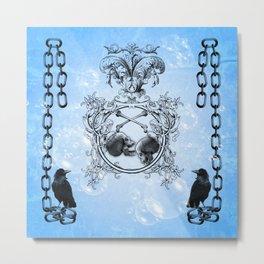 Skull and crow Metal Print