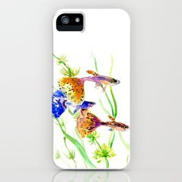 Guppy Fish colorful fish artwork, blue orange iPhone Case