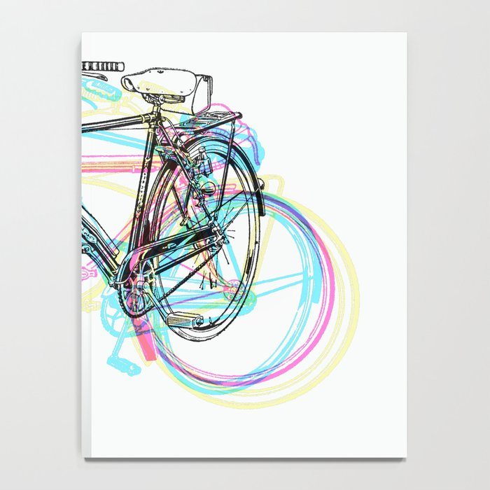 Artistic modern pink teal abstract bicycles art Notebook
