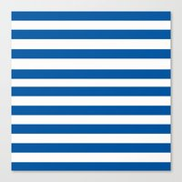 preppy Canvas Prints featuring Preppy Navy & White Stripe by Sweet Karalina