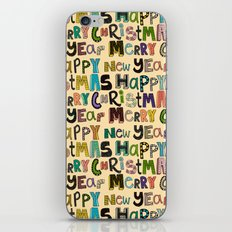cream merry christmas and happy new year iPhone & iPod Skin