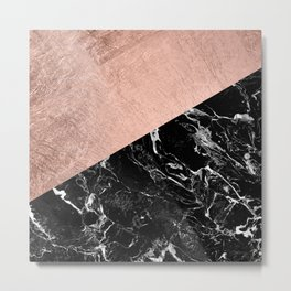 Bold modern rose gold black marble color block Metal Print