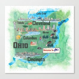 USA Ohio State Illustrated Travel Poster Map with Touristic Highlights Canvas Print