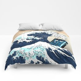 Blue phone Box Vs The great Big Wave iPhone 4 4s 5 5c 6, pillow case, mugs and tshirt Comforters