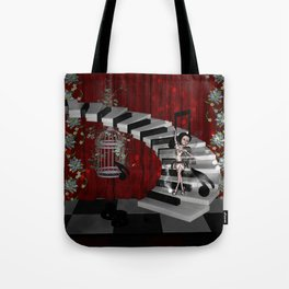 Dancing fairy on the piano Tote Bag