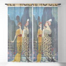 Les Modes, Art Deco Women in Poiret Evening Wear Roaring Twenties portrait painting - George Barbier Sheer Curtain