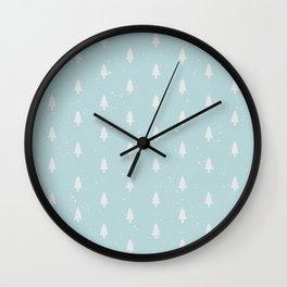 Christmas Trees Pattern Light Blue Wall Clock