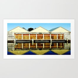 Reflections of a old boat Shed Art Print