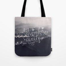 Adventure awaits Typography Gorgeous Mountain View Tote Bag