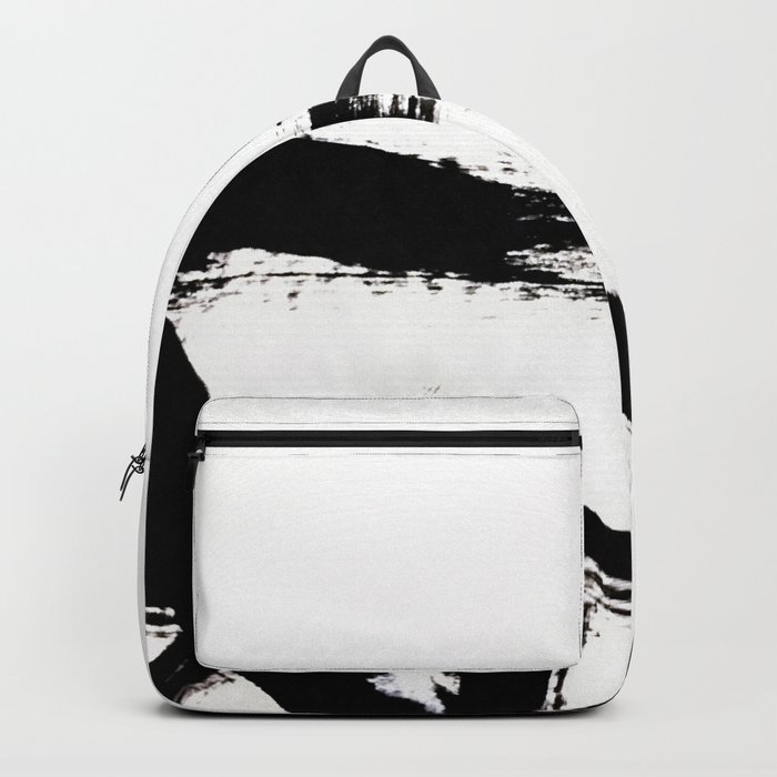 Brushstroke [8] - a simple, abstract, black and white india ink piece Backpack