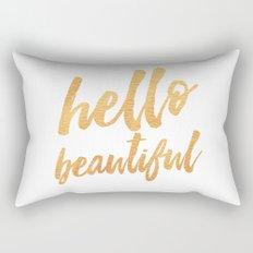 Hello Beautiful - Gold Typography Rectangular Pillow