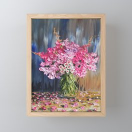 Pink Flowers Painting, Knife Oil Painting, Modern Floral Art, blue and white, Pink flowers on blue, Framed Mini Art Print