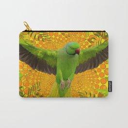 MAGNIFICENT GREEN PARROT GOLD JUNGLE MODERN ART Carry-All Pouch