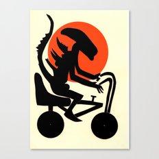 alien on a chopper Canvas Print