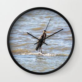 Great Blue Heron waddling in the Water Wall Clock