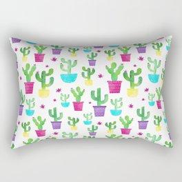 Watercolor Succulent Cactus Pattern Rectangular Pillow