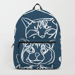 Blue and White Silly Kitty Faces Backpack
