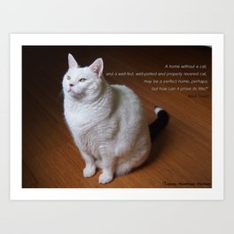 Cat with Mark Twain quote Art Print