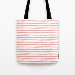 Pink Drawn Stripes Tote Bag