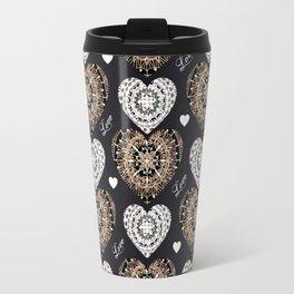 Rose-Gold, Silver, and Black Mandala Hearts with Love Travel Mug