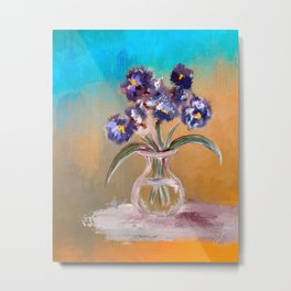 Purple And Blue Pansies In Glass Vase Metal Print