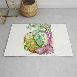 Red Beets and Squash Rug