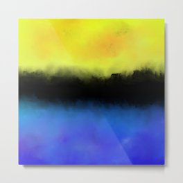 Separation - Abstract in black, blue and yellow Metal Print