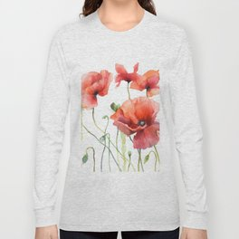 Spring Poppies Papaver Meadow Red Poppies White and Red Watercolor Long Sleeve T-shirt