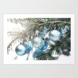 Blue Christmas baubles on tree Art Print