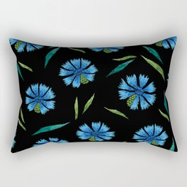 Embroidered Flowers on Black Pattern 05 Rectangular Pillow